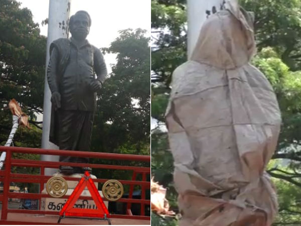Anna statue covered with gunny bags