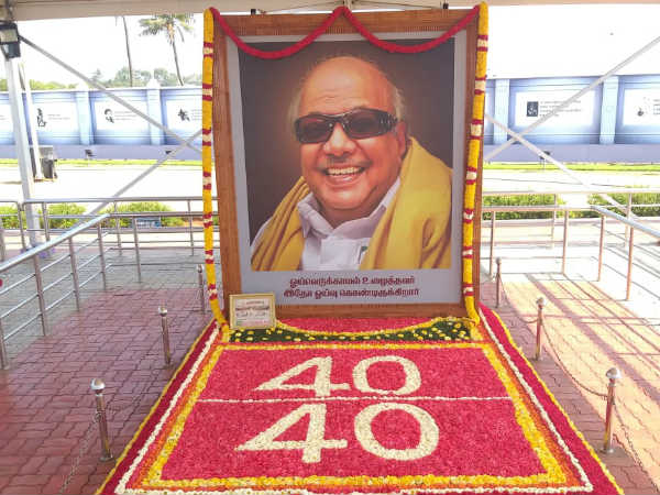 40 to 40 win: decoration with flowers in the Karunanidhi memorial