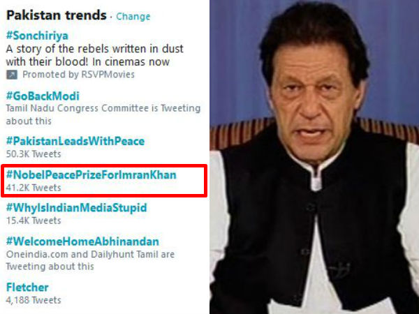 Nobel peace prize for imran khan becomes top twitter trend in pakistan