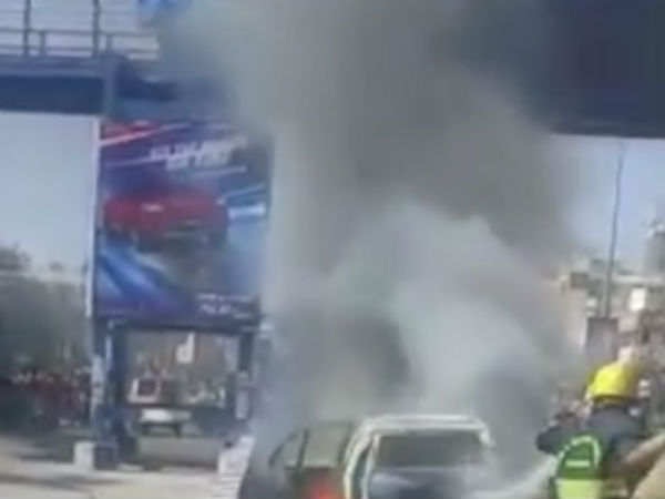 Car catches fire while going on the road in Chennai