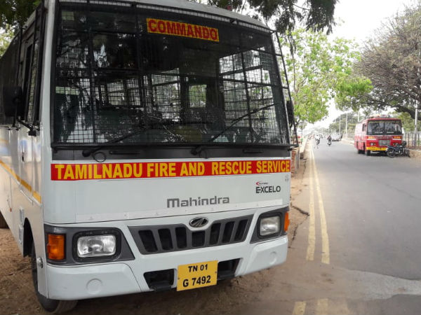 Cyclone Fani: Fire and rescue team on duty at Chennai Marina