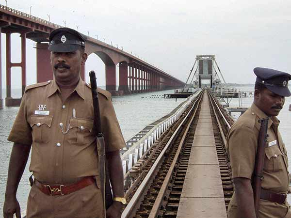 Bomb Squad doing a search in Pamban bridge after a bomb threat call
