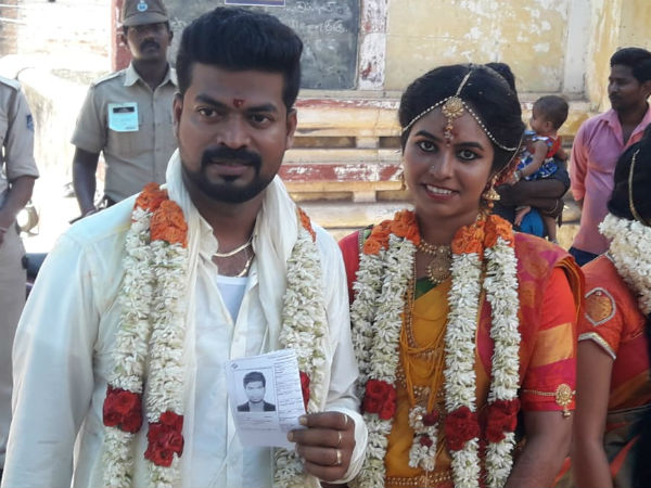 Newly wed pair come to vote after marriage