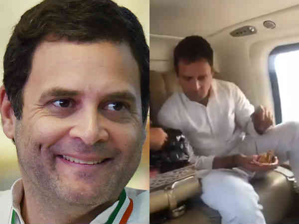 Rahul Gandhi eating samosa in private Flight With Friends