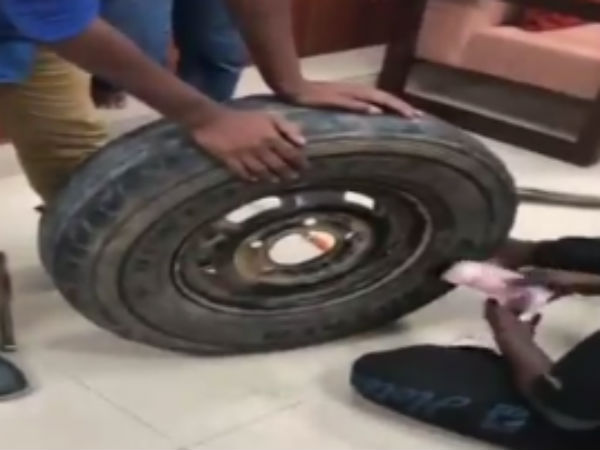 Rs 2.30 cr in cash stuffed inside the spare tire in a car seized by Income-Tax officials.