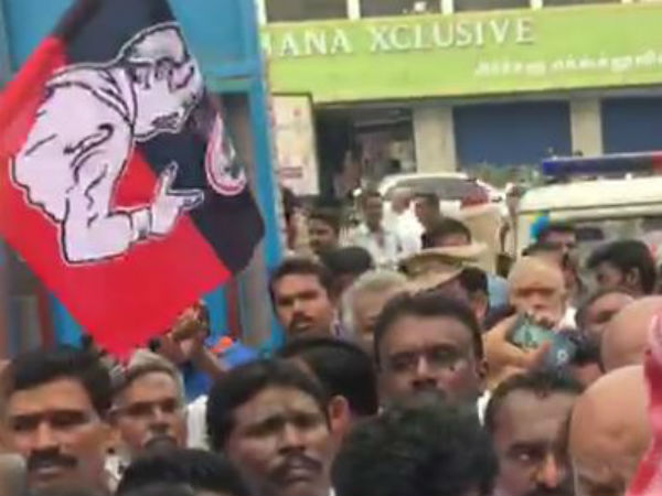 ADMK candidate protest in Queen Marys