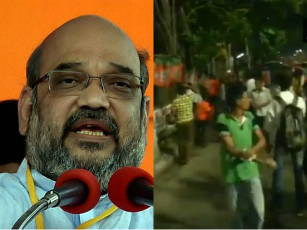 West Bengal BJP President Amit Shahs roadshow in Kolkata after clashes broke out