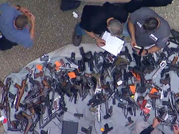 In Los Angeles Farmhouse.. Gun Heap found by police.. peoples was shocked