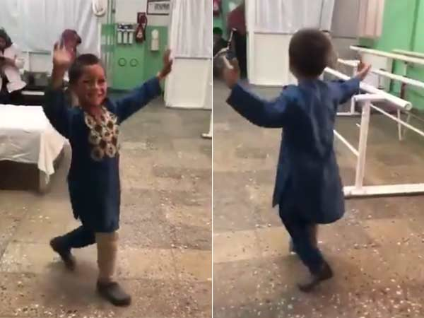 Landmine victim boy dances after got a prosthetic leg