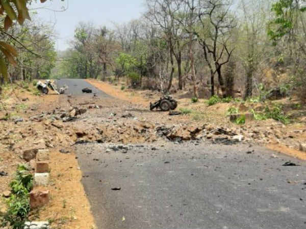 Naxal attack on a vehicle carrying soldiers in Gadchiroli at Maharashtra