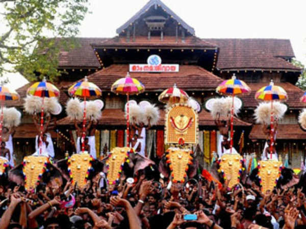 World-famous Pooram festival in Kerala.. Thrissur within the security ring