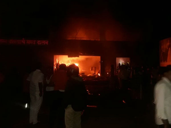 A fire broke out in a cloth warehouse near Pune..5 workers dead
