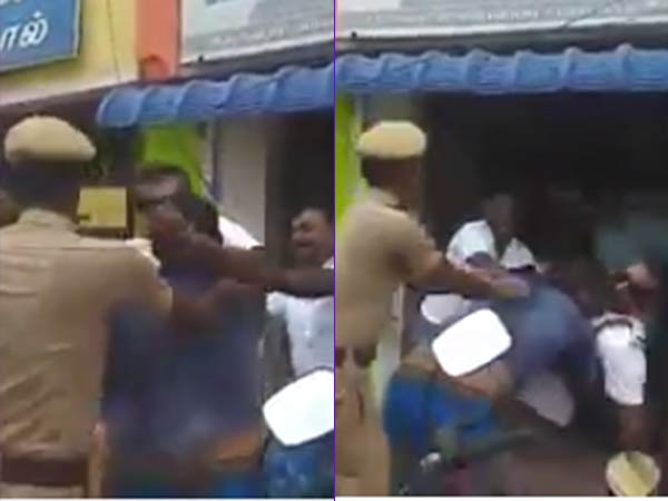 Police Inspector quarrel with Private Tata Ace driver in Ramanad