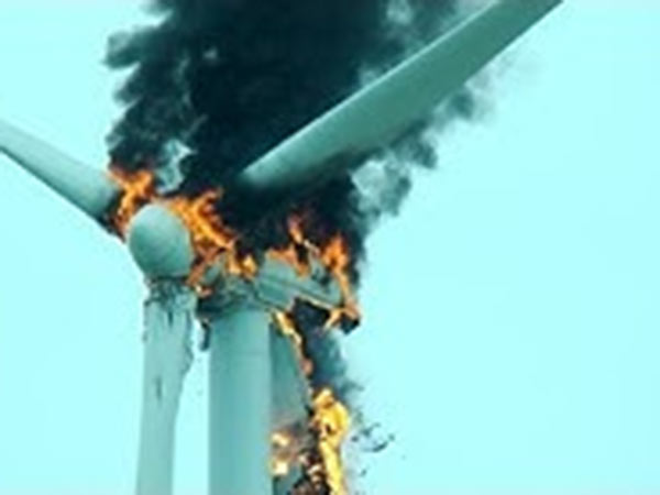 A fire broke out in a windmill near Dharapuram..Scattered parts burst for 2 km