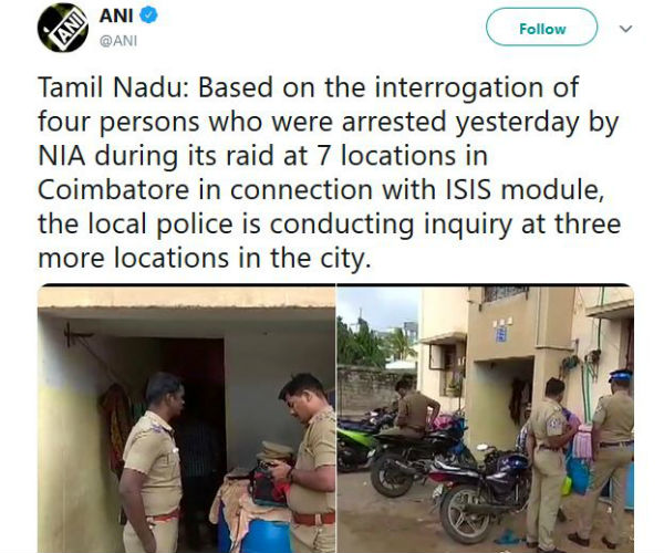 ISIS Moduel: TN Police conducts inquiry in Coimbatore