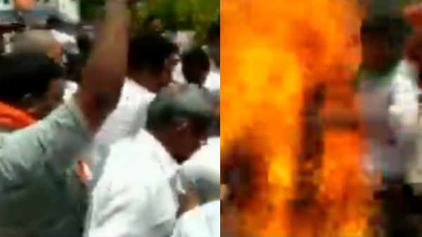 4 BJP workers injured while burning an effigy in Warangal today