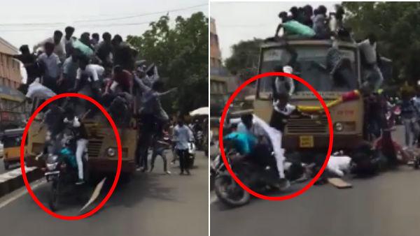 பொத்தென்று சரிந்த மாணவர்கள்.. கரெக்டாக பைக் மீது அமர்ந்த நிலையில் விழுந்த 'வெள்ளை பேன்ட்'!