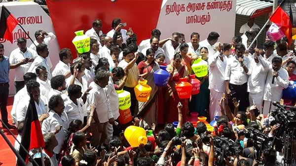 DMK protesting in Chennai over water scarcity
