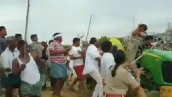 Telangana Rashtra Samithi workers attacked women forest officer during a tree plantation drive