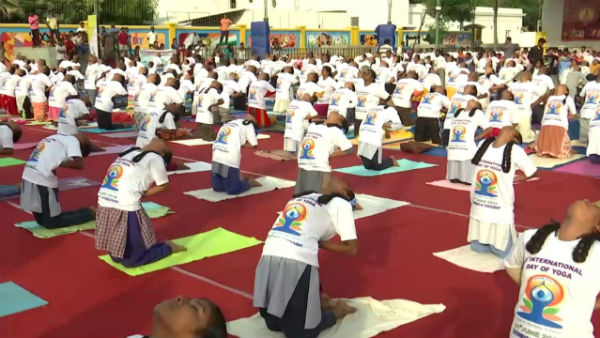 International Yoga Day Celebration at Pondicherry Beach Road