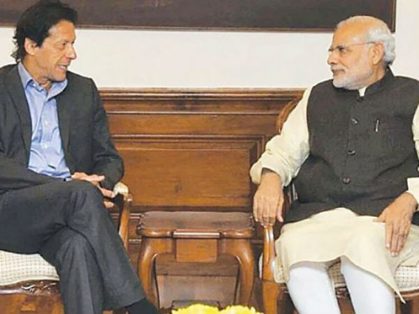 Narendra Modi exchanged pleasantries with the Imran Khan