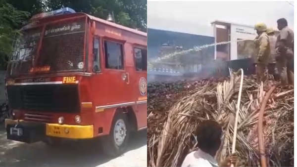Coconut godown fire accident near Salem