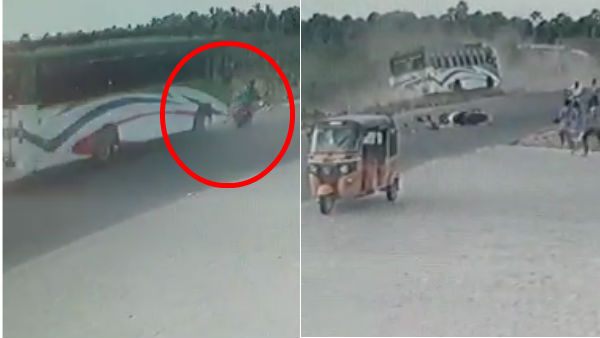 CCTV footage about Private Bus and Two wheeler accident in Ramnad