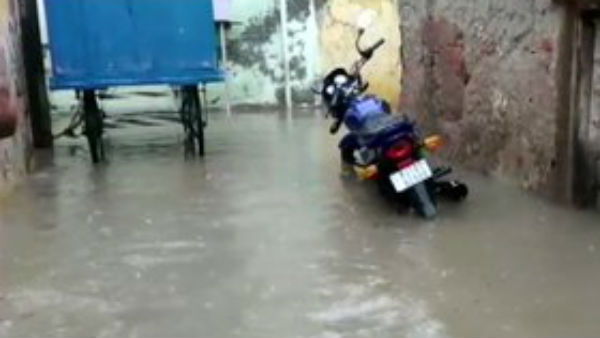 Rajasthan: Streets in Churu flooded following heavy rainfall in city