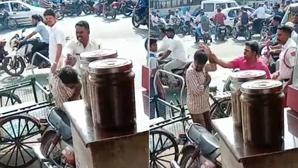 hand cart driver attacked by traffic police in puducherry