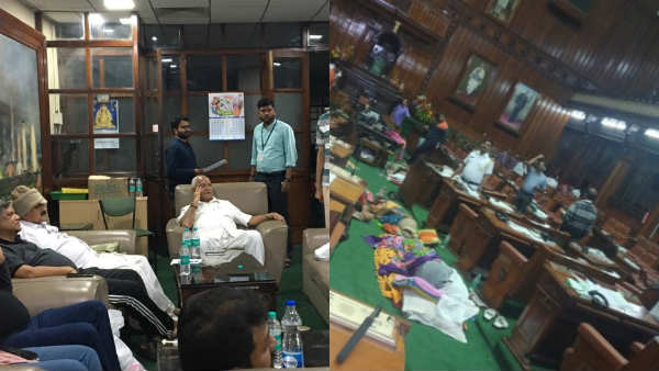 BJP legislators stay in karnataka assembley and Night sleep and food in Assembly