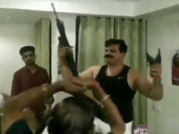 BJP MLA Pranav Champion seen in a viral video brandishing guns