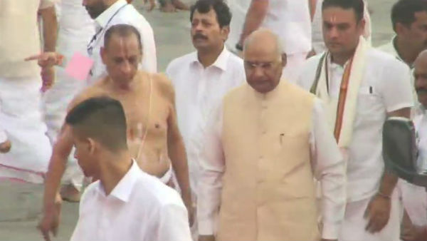 President Ramnath Govind arrives Tirupati and Dharshan ezhumalaiyan