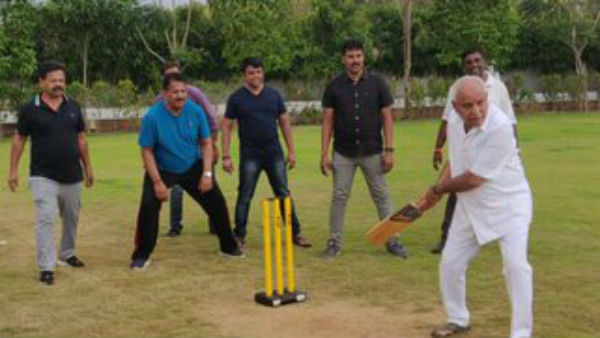Yeddyurappa Plays Cricket With Party mlas At Bengaluru Hotel
