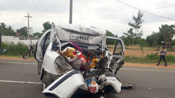 5 killed, 5 more cars crash accident in pudukottai- trichy highway