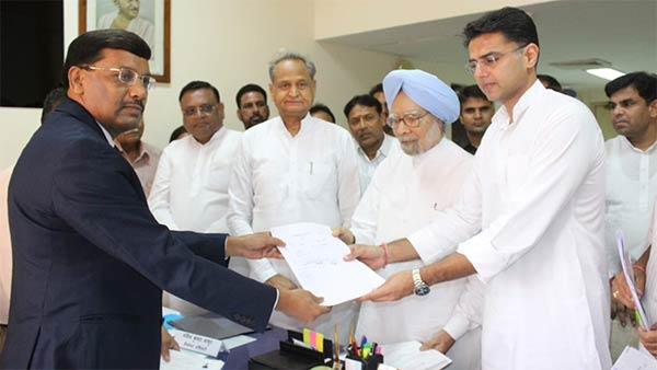 Manmohan Singh files nomination for RS from Rajasthan