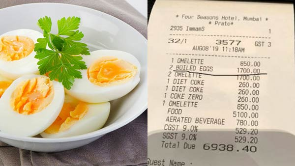 mumbai hotel asked rs 1700 bill for two boiled egg