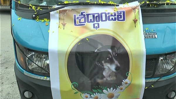 nizamabad people gives last respect to died dog and Buried