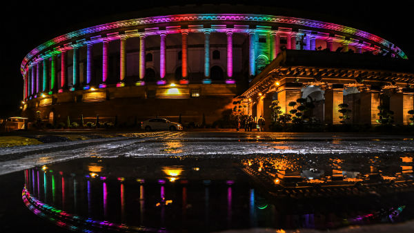 Permanent colourful lights on the Indian Parliament building