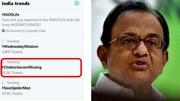 #ChidambaramMissing ப.சிதம்பரத்தைக் காணவில்லை.. வைரலாகும் ஹேஷ்டேக்