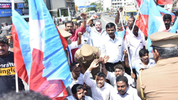 VCK protest in Chennai against vandalization of Dr Ambedkar statue in Vedaranyam
