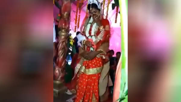 Couple fell down on Marriage state Video viral