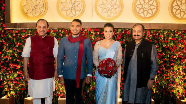 Subramanian Swamy attends Rajapaksas son wedding reception
