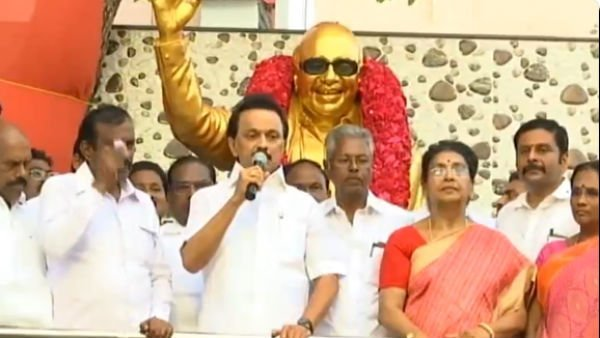 Former CM Karunanidhis statue opened in Erode by DMK chief M K Stalin