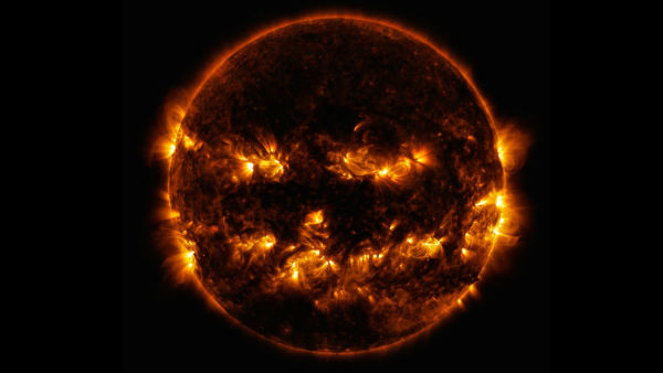 NASA shared a photo of the sun looking a lot like a giant flaming jack-o-lantern