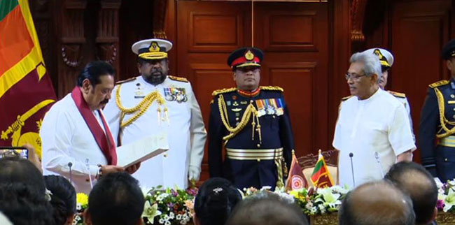 Mahinda Rajapaksa sworn in as new Prime Minister of Srilanka