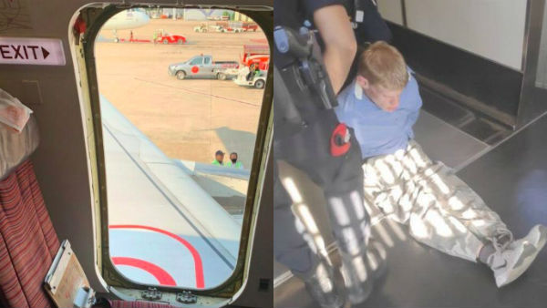 A Crazed passenger ripped planes emergency door moments before take-off