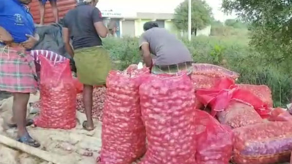 The 10 tonnes of onion brought to Chennai from Andhra Pradesh toppled on the road