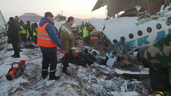 Plane with 100 people on board crashes near in Kazakhstan