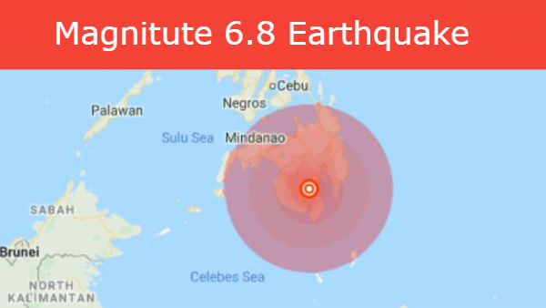 philippines hit strong earthquake, USGS reported the magnitude at 6.8