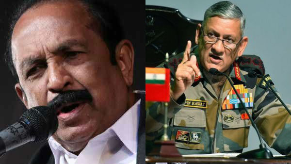Vaiko Condemns Army Chiefs remarks on Protests against CAA